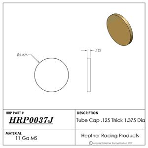 """Picture of Tube Cap, MS, 0.120"""" Thick x 1.375"""" Dia"""