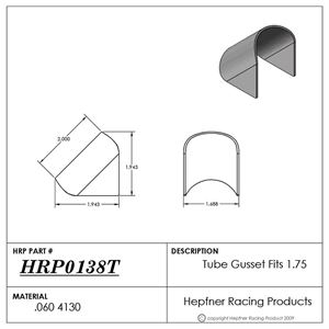 """Picture of Tube Gusset, 4130, Fits 1.75"""", 0.060"""" Thick"""