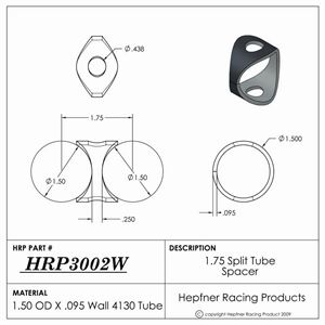 """Picture of 1.75"""" Split Tube Spacer, 4130, 1.500"""" OD x 0.095"""", 2 Holes"""