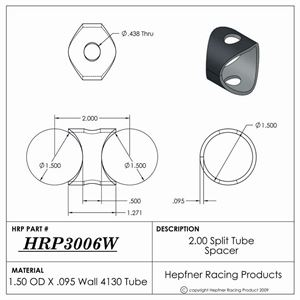 """Picture of 2.00"""" Split Tube Spacer, 4130, 1.500"""" OD x 0.095"""", 2 Holes"""