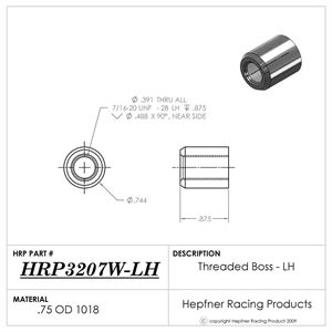 """Picture of Rod End Boss LH 7/16 Thread, Fits 0.875"""" OD, 0.065"""" Wall"""