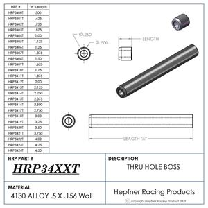 """Picture of Boss 1 1/2"""" Long 1/4 ID Thru, Material 0.50 OD x 0.120, 4130"""