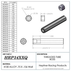 """Picture of Boss 1 7/8"""" Long 1/2 X 13, Material 0.75 OD x 0.156, 4130"""
