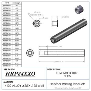 """Picture of Boss 2 1/4"""" Long 3/8 X 16, Material 0.625 OD x 0.156, 4130"""