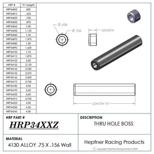 """Picture of Boss 2 1/4"""" Long 7/16 ID Thru, Material 0.750 OD x 0.156, 4130"""