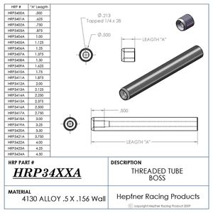 """Picture of Boss 2 1/2"""" Long 1/4 x 28, Material 0.50 OD x 0.156, 4130"""