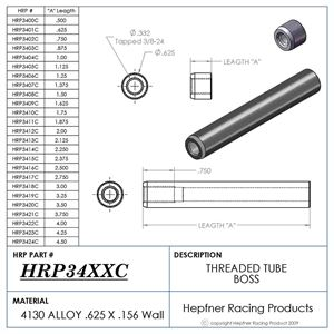 """Picture of Boss 2 1/2"""" Long 3/8 X 24, Material 0.625 OD x 0.156, 4130"""