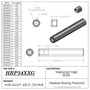 """Picture of Boss 2 1/2"""" Long 7/16 X 20, Material 0.625 OD x 0.120, 4130"""