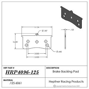 Picture of Brake Backing Pad, Inboard Wilwood 0.125 Alum