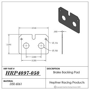 Picture of Brake Backing Pad, Inboard Wilwood 0.050 Alum, Dynalite