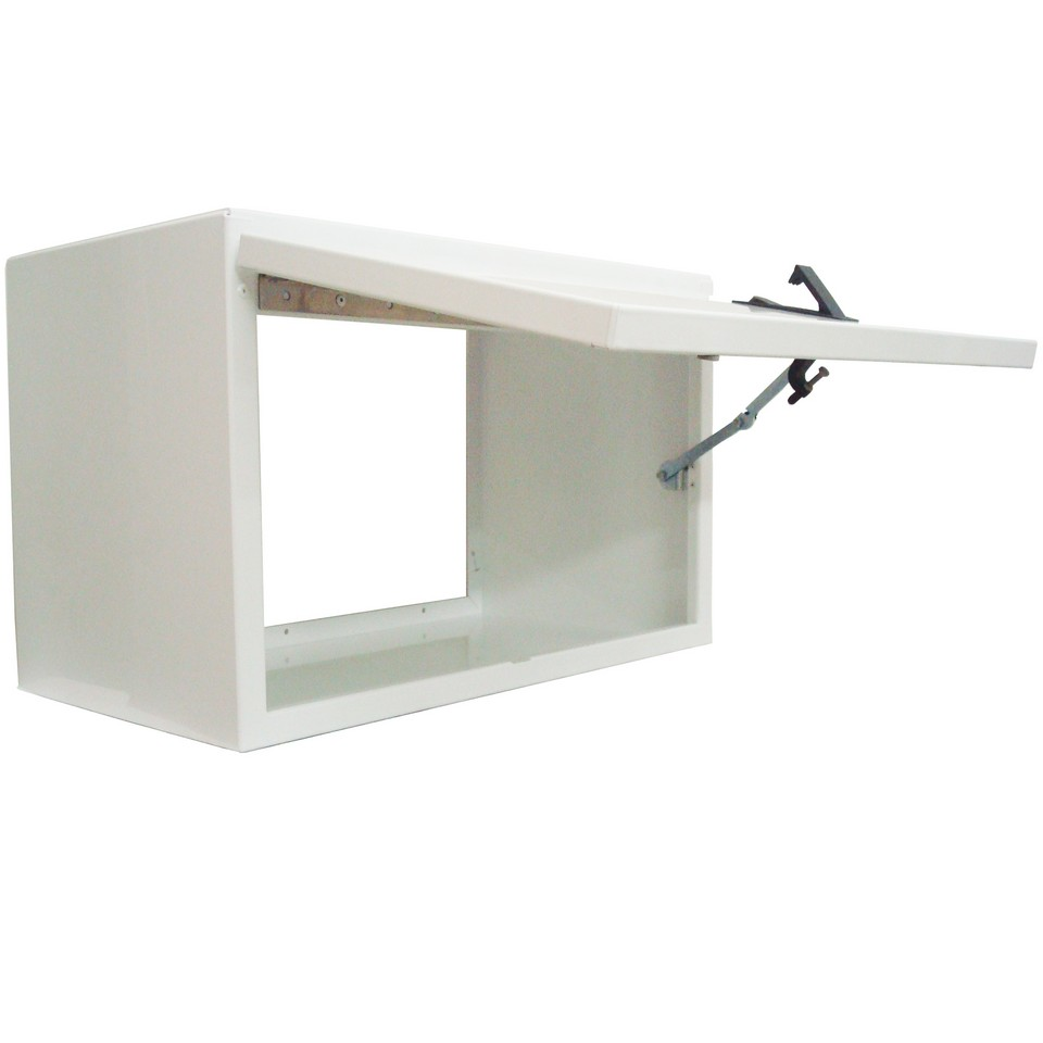 Picture Of Overhead Cabinet 32 0 Length Single Flip Up Door White Powder