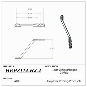"""Picture of Nose Wing Rear Bracket, Maxim Style, 7.5"""" To 6.0"""" Rise"""