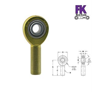 "Picture of F.K. Rod End 1/2"" Left Hand Male Thread, HD 3 Piece Shank"